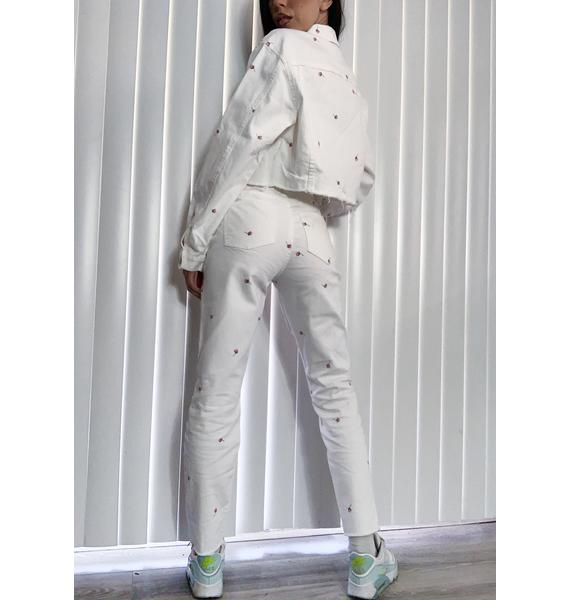 Daze Moneymaker Embroidered Mom Jeans