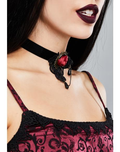 Gothic Rose Velvet Necklace