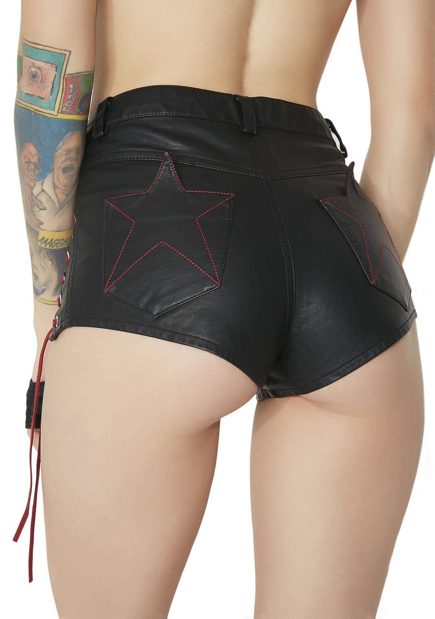 Current Mood Dare The Devil Lace-Up Shorts