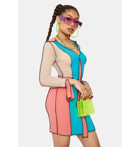 Game Of Love Colorblock Panel Mini Dress