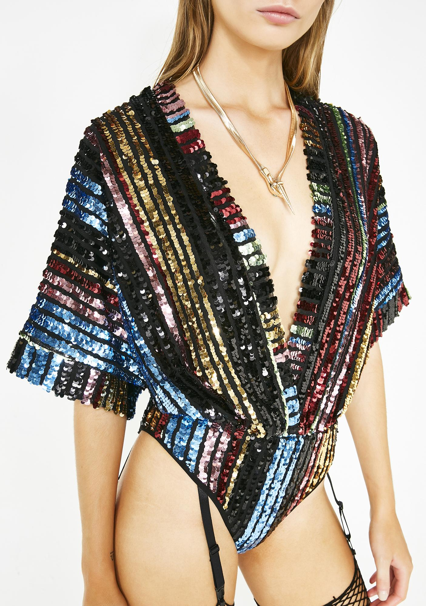 Club Exx Nova Crystallis Sequin Bodysuit