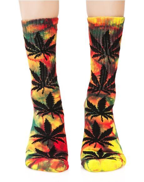 Tropical Tie Dye Plant Life Crew Sock