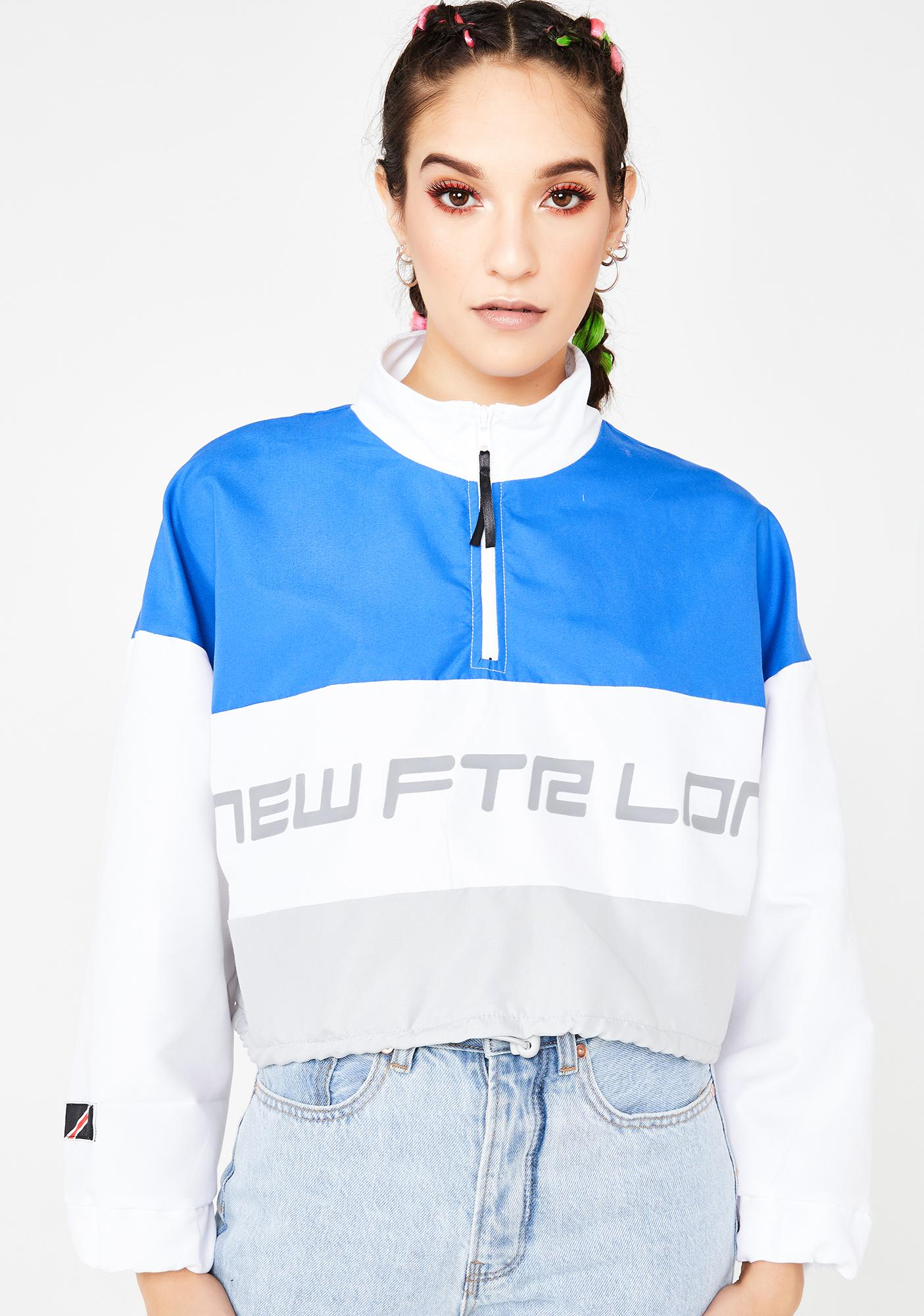 NEW FTR LDN Royal Racer Logo Crop Windbreaker