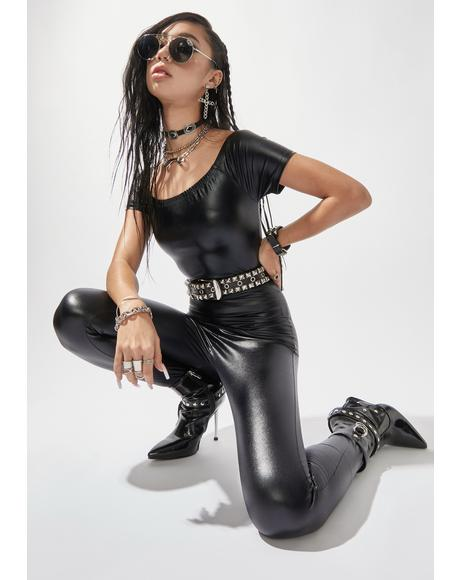 Hey Stud Vegan Leather Jumpsuit