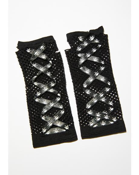 Don't Cross Me Fishnet Gloves