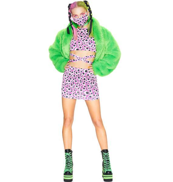 Club Exx Eye Roll Mini Skirt