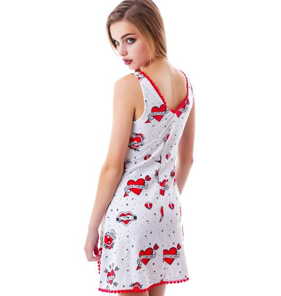 Sourpuss Clothing Lonely Hearts Nightie Dress