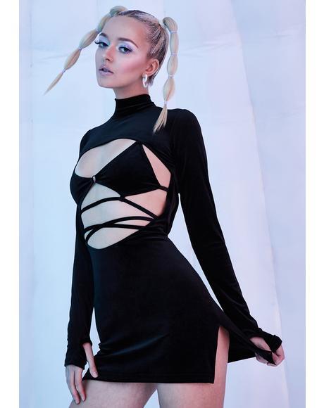 Dark Rave Bunny Velvet Cut-Out Dress