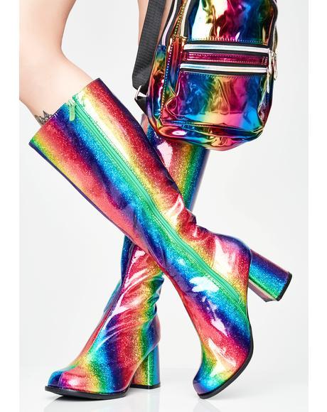 Luv Drug Glitter Gogo Boots
