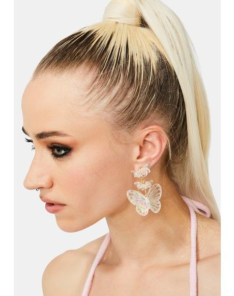 Clearly Fly Higher Butterfly Earrings