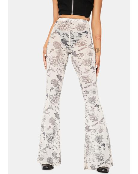 In A Flash Tattoo Print Flare Pants