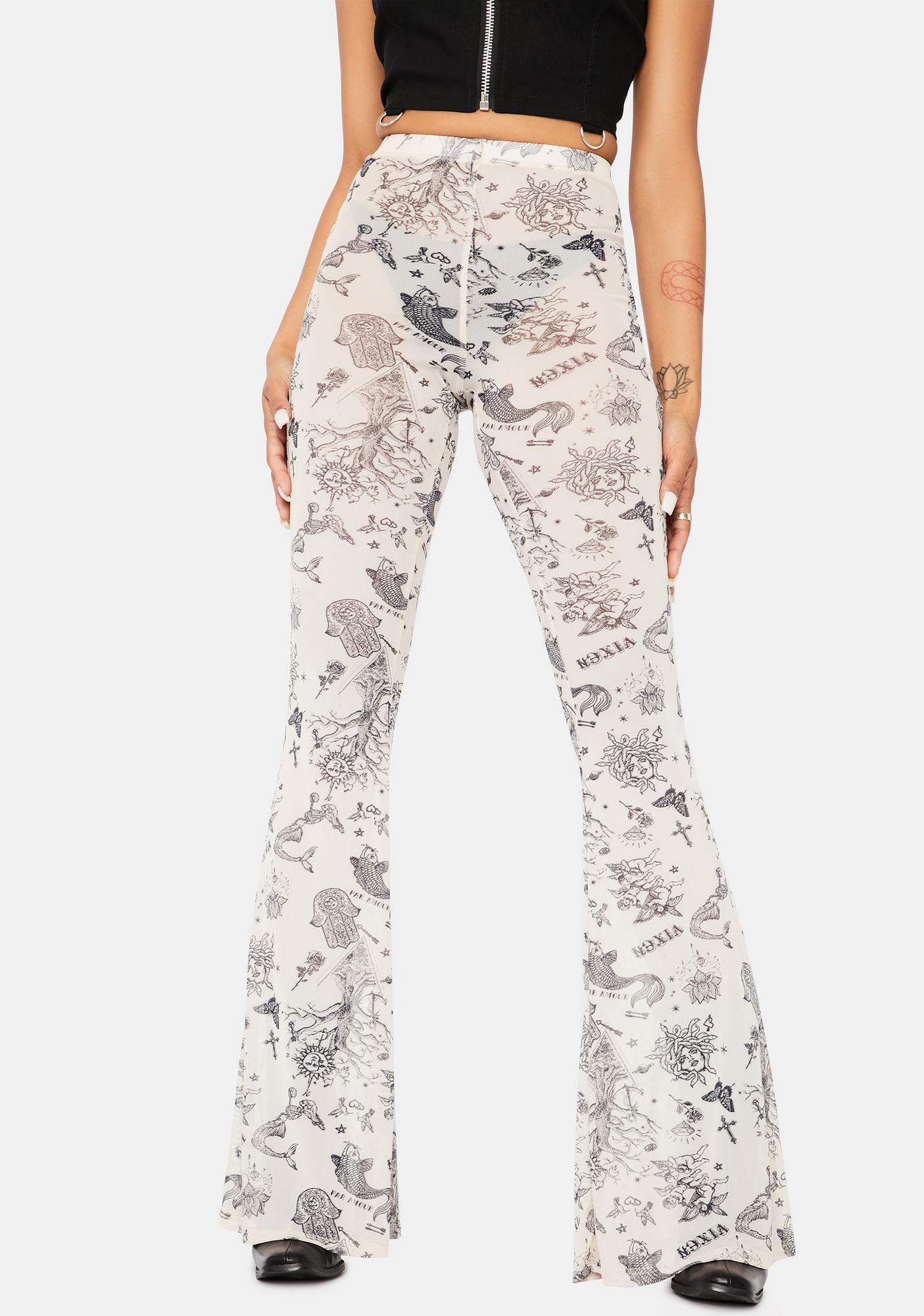 In A Flash Tattoo Print Flare Pants