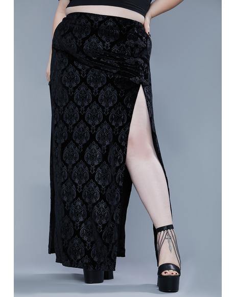 Ur Too Far Gone Velvet Maxi Skirt
