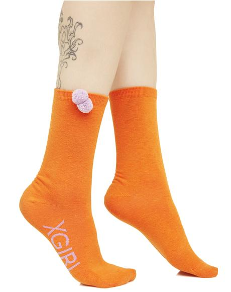 Orange Pom Pom Socks