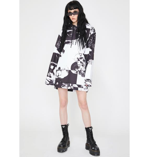 Jaded London Punk Print Oversized Hoodie Dress