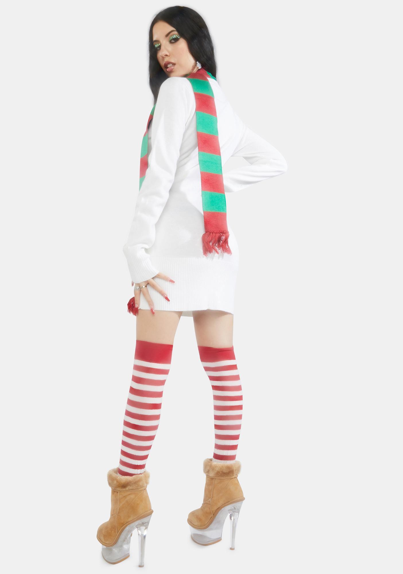 Tipsy Elves Snowman Scarf Sweater Dress