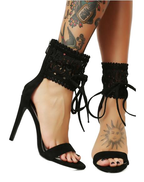 On The Hunt Lace Heels