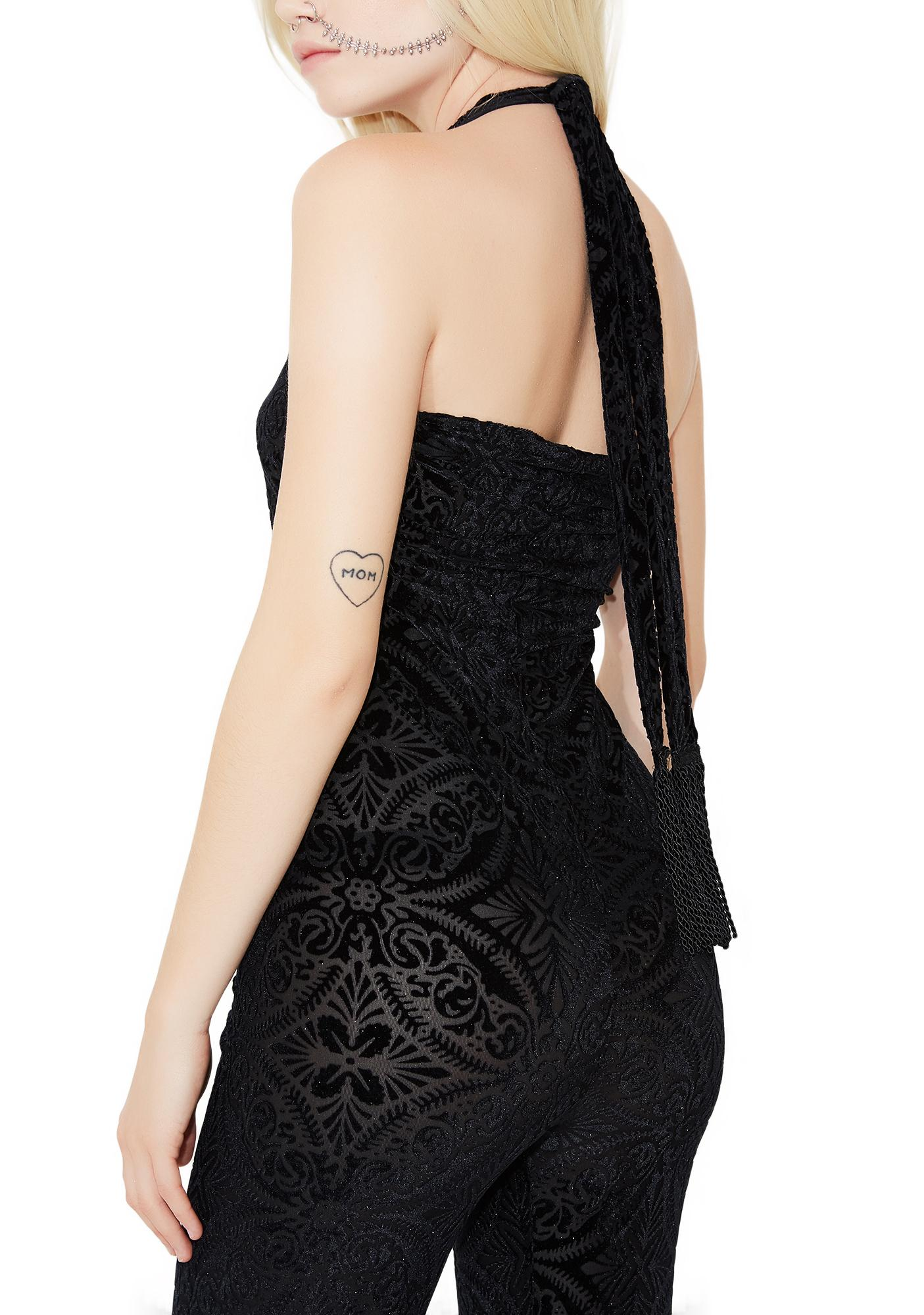TEMPLE RO Midnight Burnout Velvet Jumpsuit
