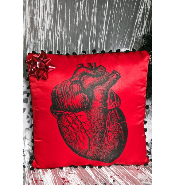 Sourpuss Clothing Anatomy Heart Throw Pillow