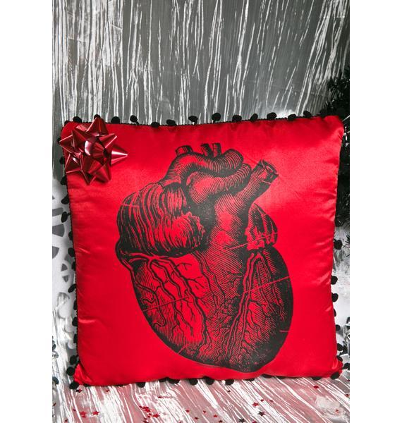 Sourpuss Clothing Anatomy Heart Throw Pillow