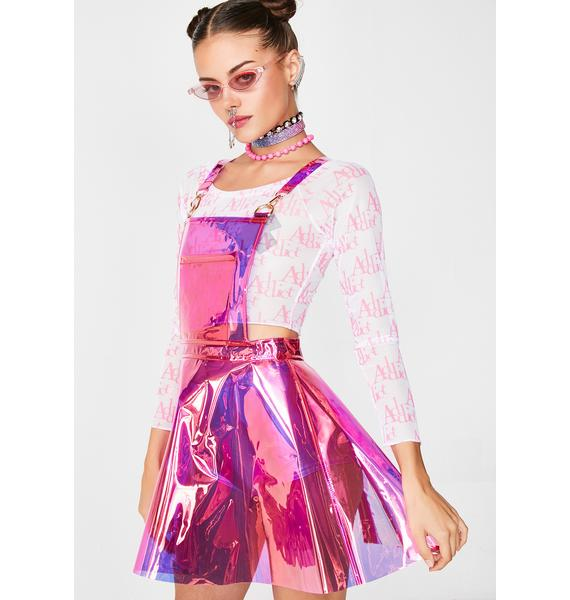 Club Exx Candy Gurl Hologram Overall Dress