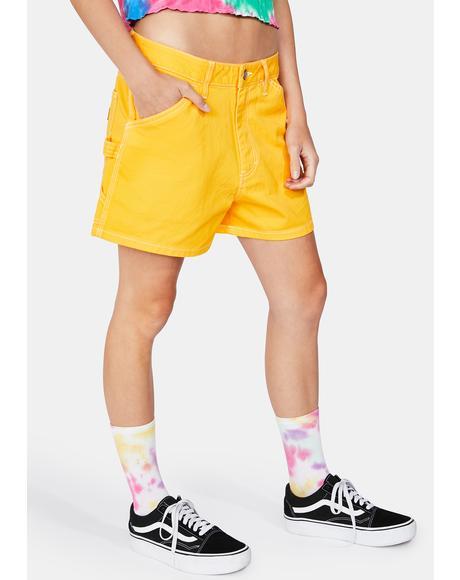 Gold High Rise Carpenter Shorts