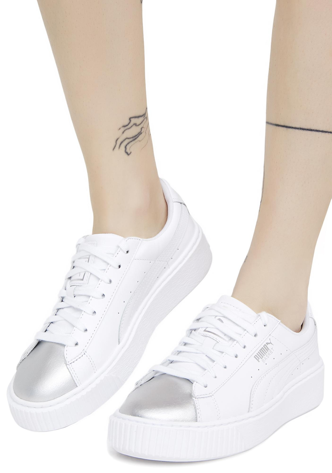c607d2608751 PUMA Basket Platform Iridescent Sneakers