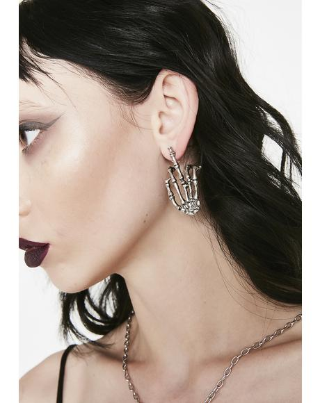 Give No Fuxxx Skeleton Earrings