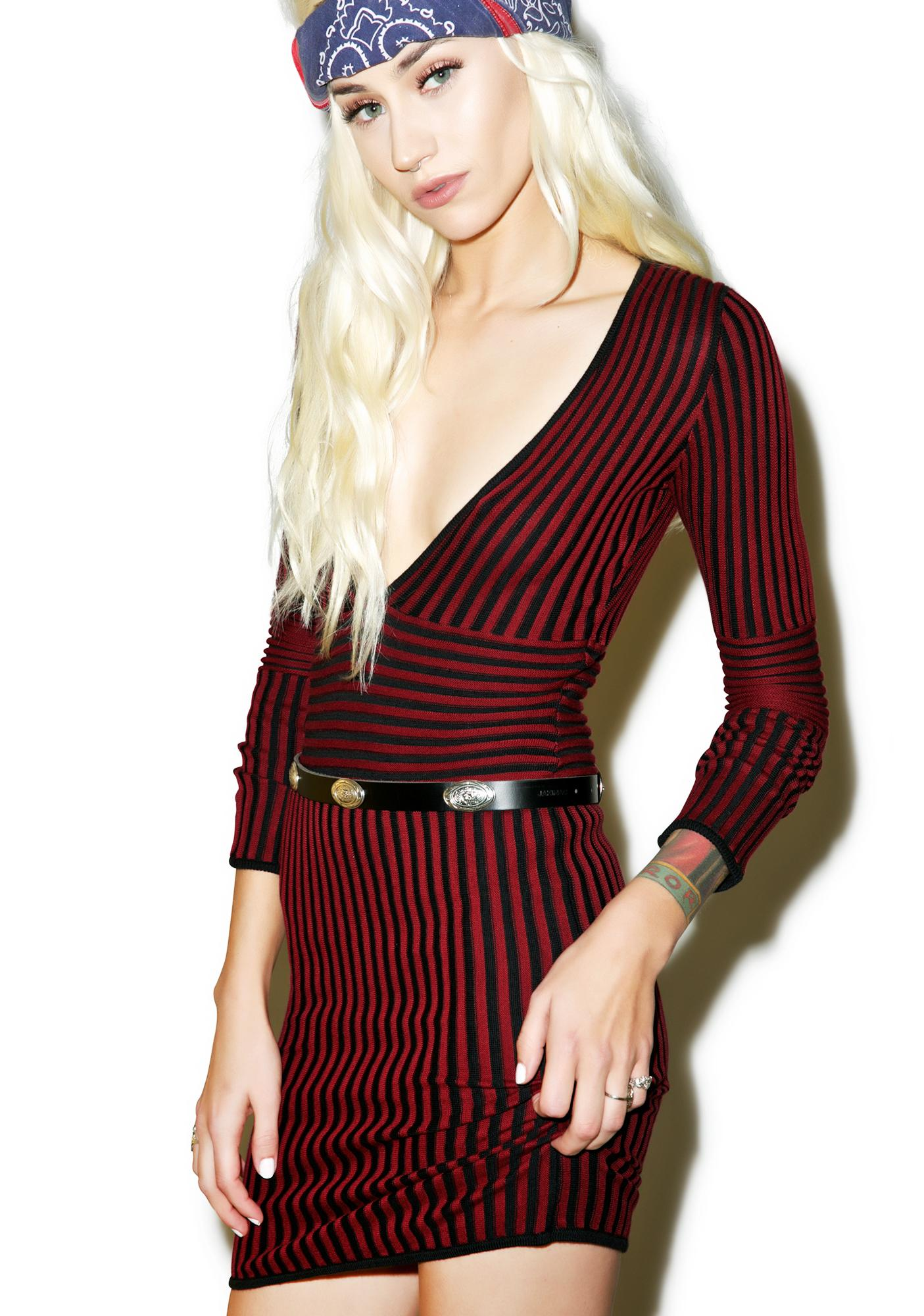 For Love & Lemons Switch Stripe Deep V-Neck Dress