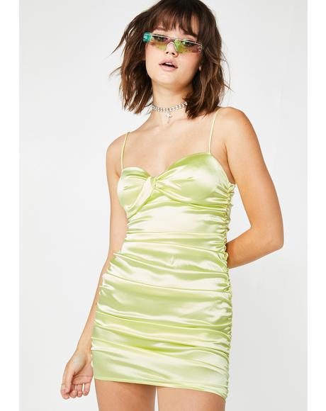 Lime Sweet Stunna Ruched Mini Dress