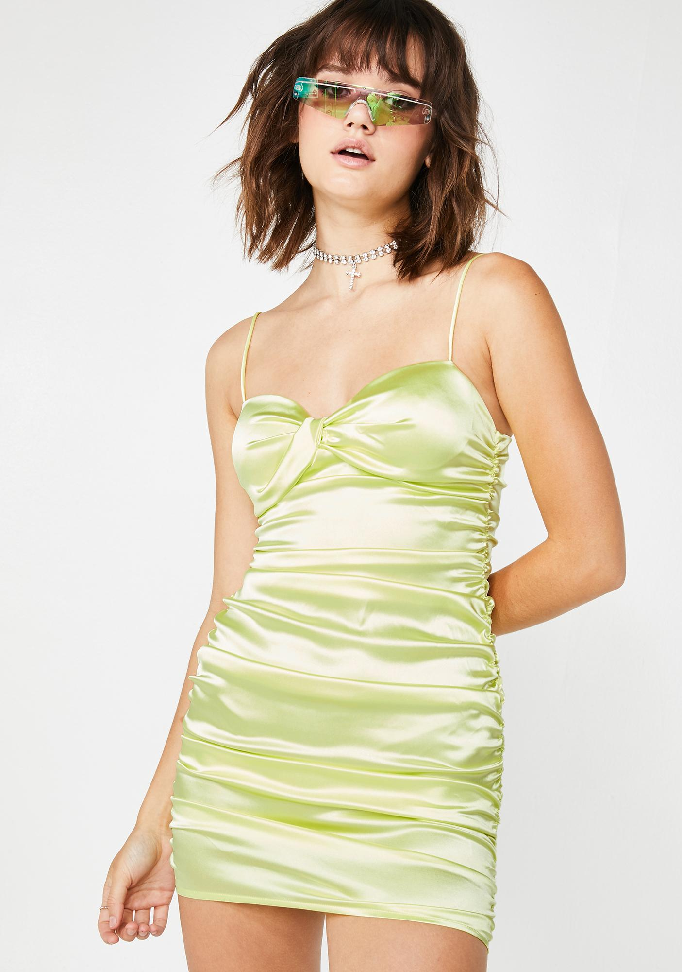 Lime Sweet Stunna Ruched Mini Dress
