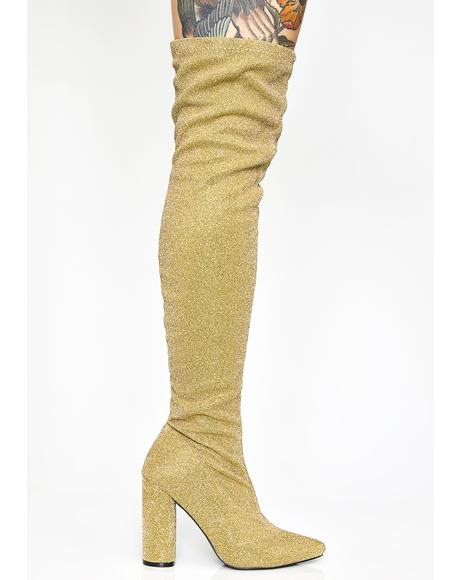 Golden Glambition Thigh High Boots