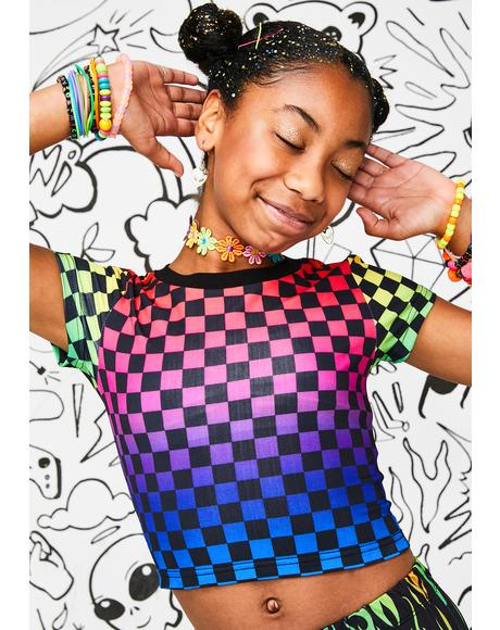 Kids Rainbow Aura Checkered Tee