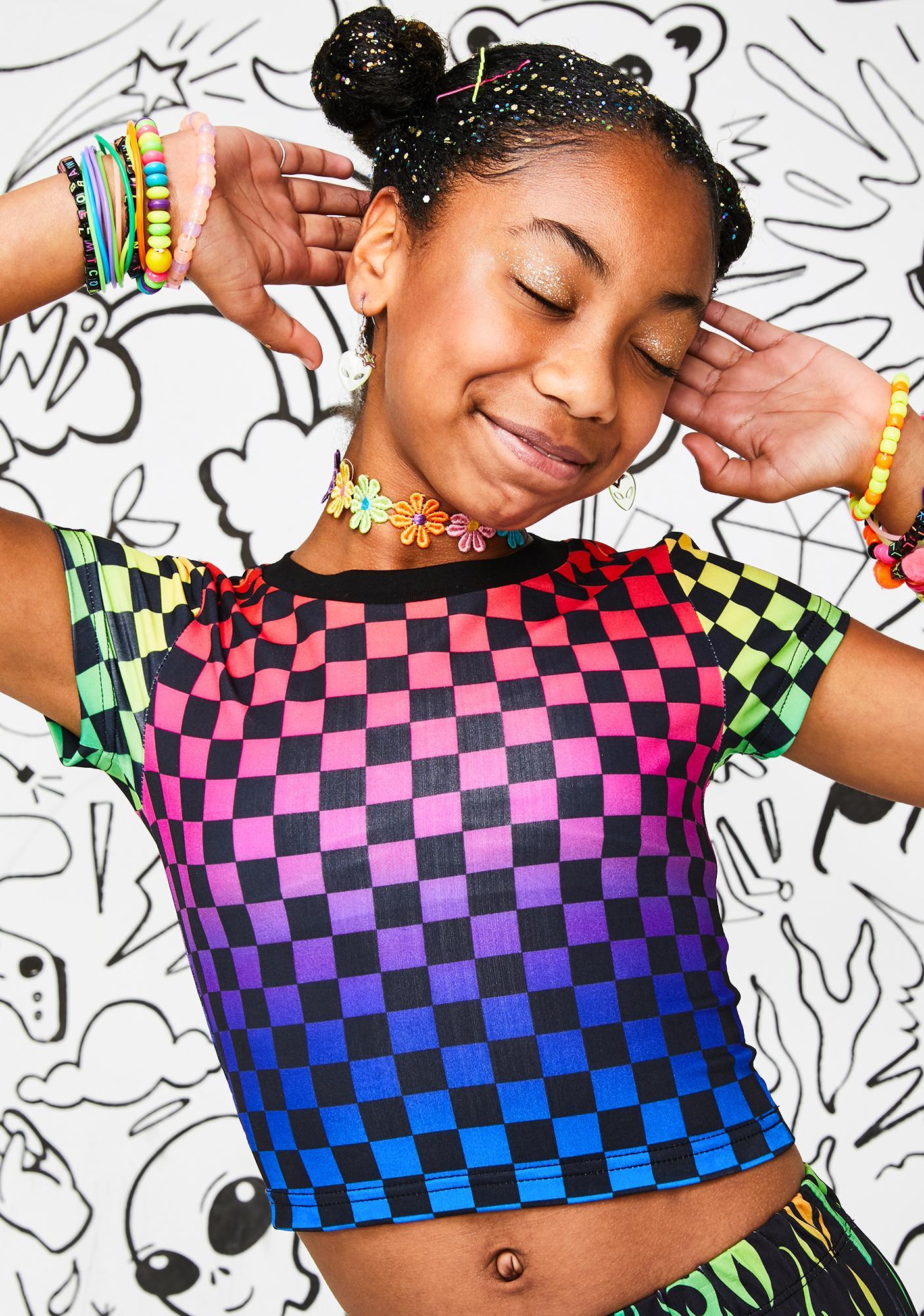 Current Mood Kids Rainbow Aura Checkered Tee