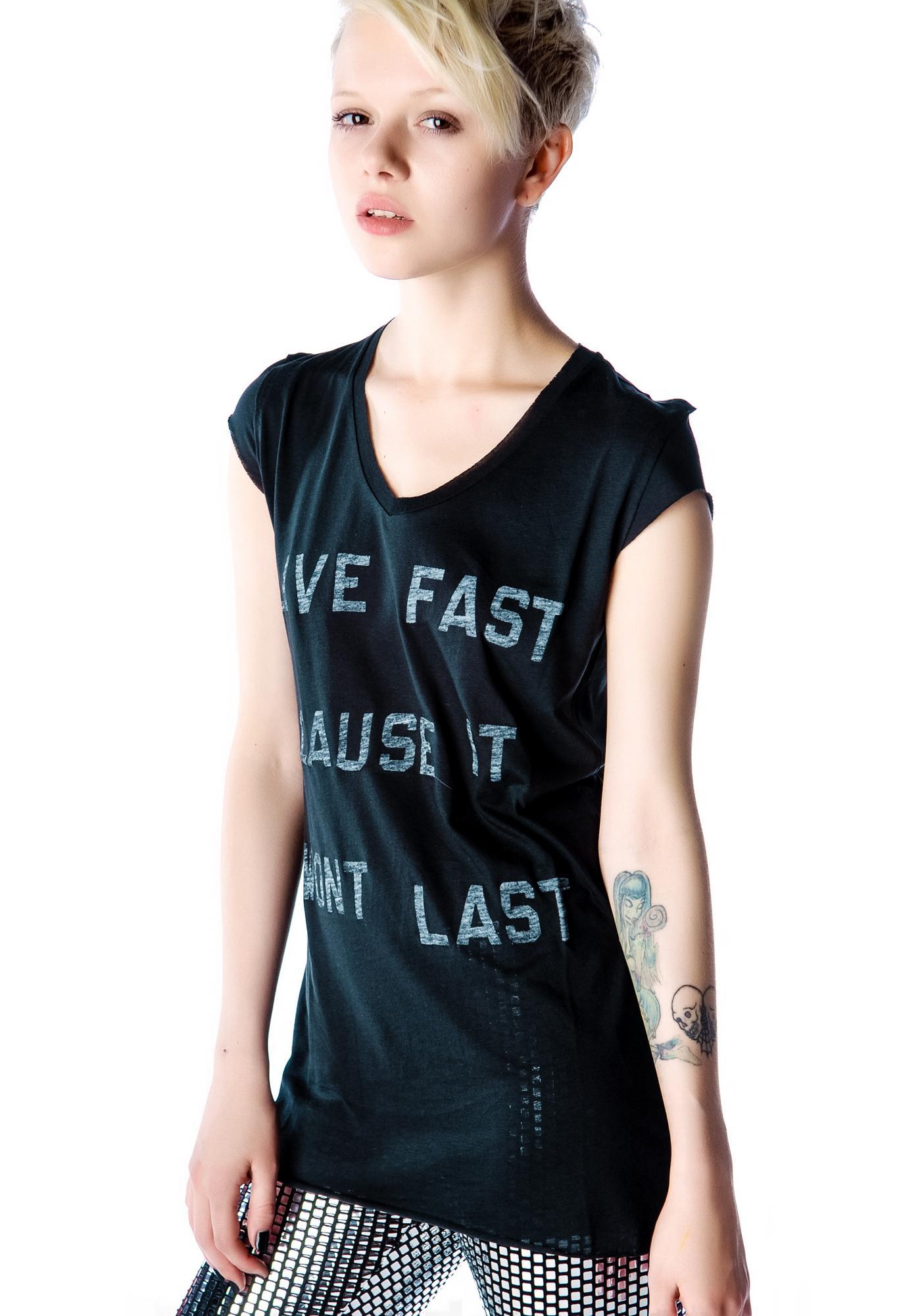 Zoe Karssen Live Fast Cap Sleeve Tee