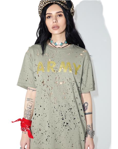 Reworked Distressed Army Tee