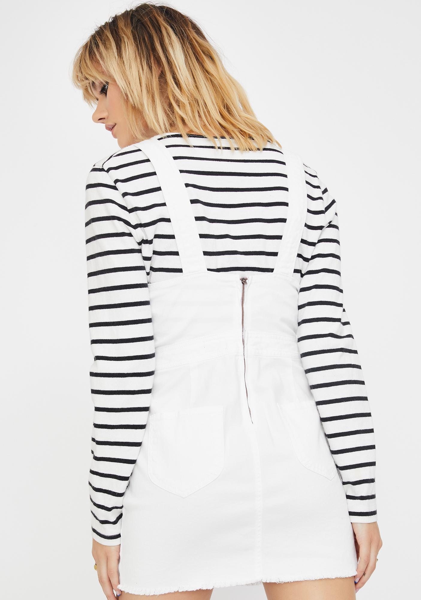 Dickies Girl White Overall Mini Dress