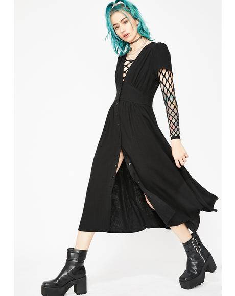 Gothic Flowin' Fury Midi Dress