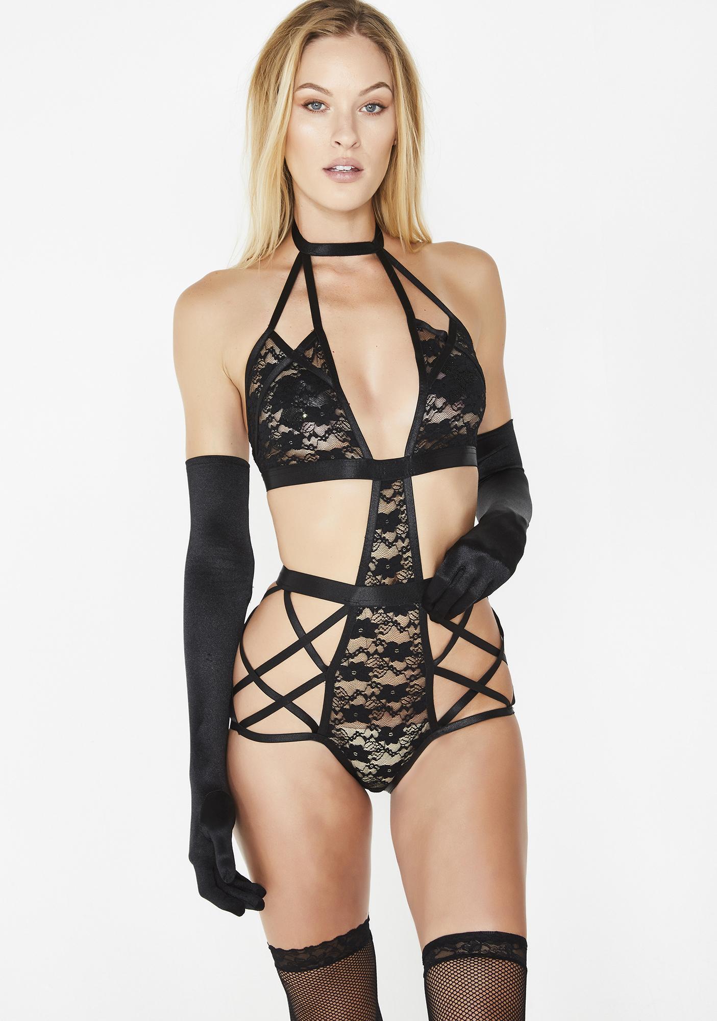 908153a7236b Cutout Strappy Sheer Lace Bodysuit Black