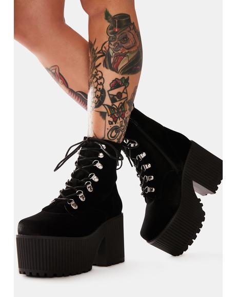 Creep Velvet Platform Boots