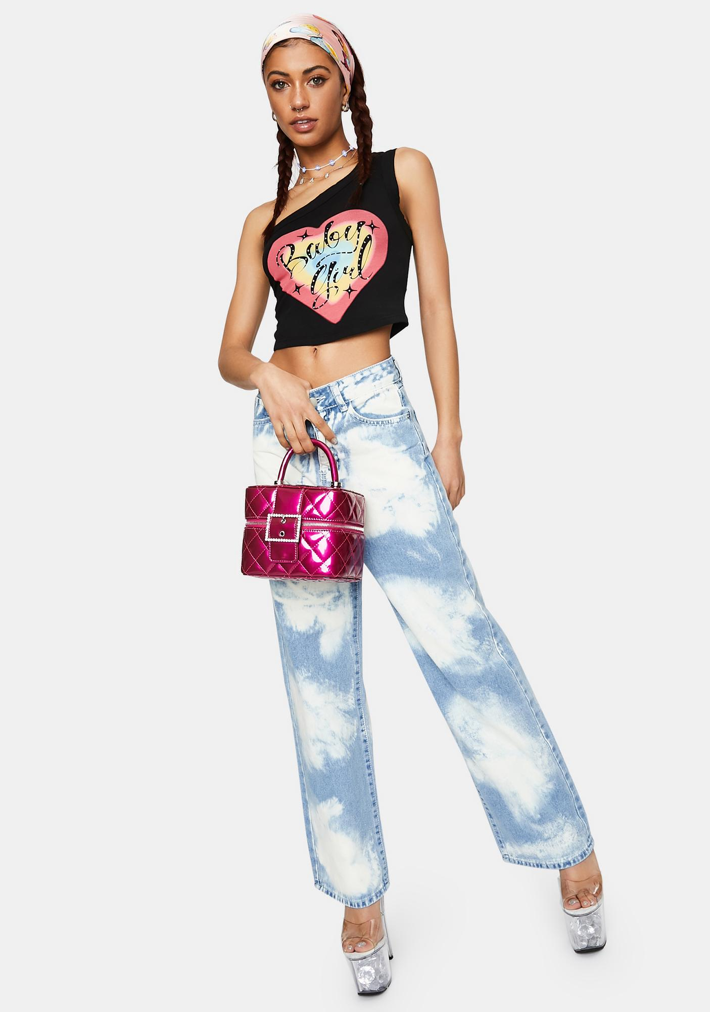 Jaded London One Shoulder Ribbed Top With Diamante Baby Girl Heart Graphic