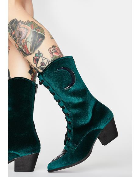 Green Spirit Velvet Boots