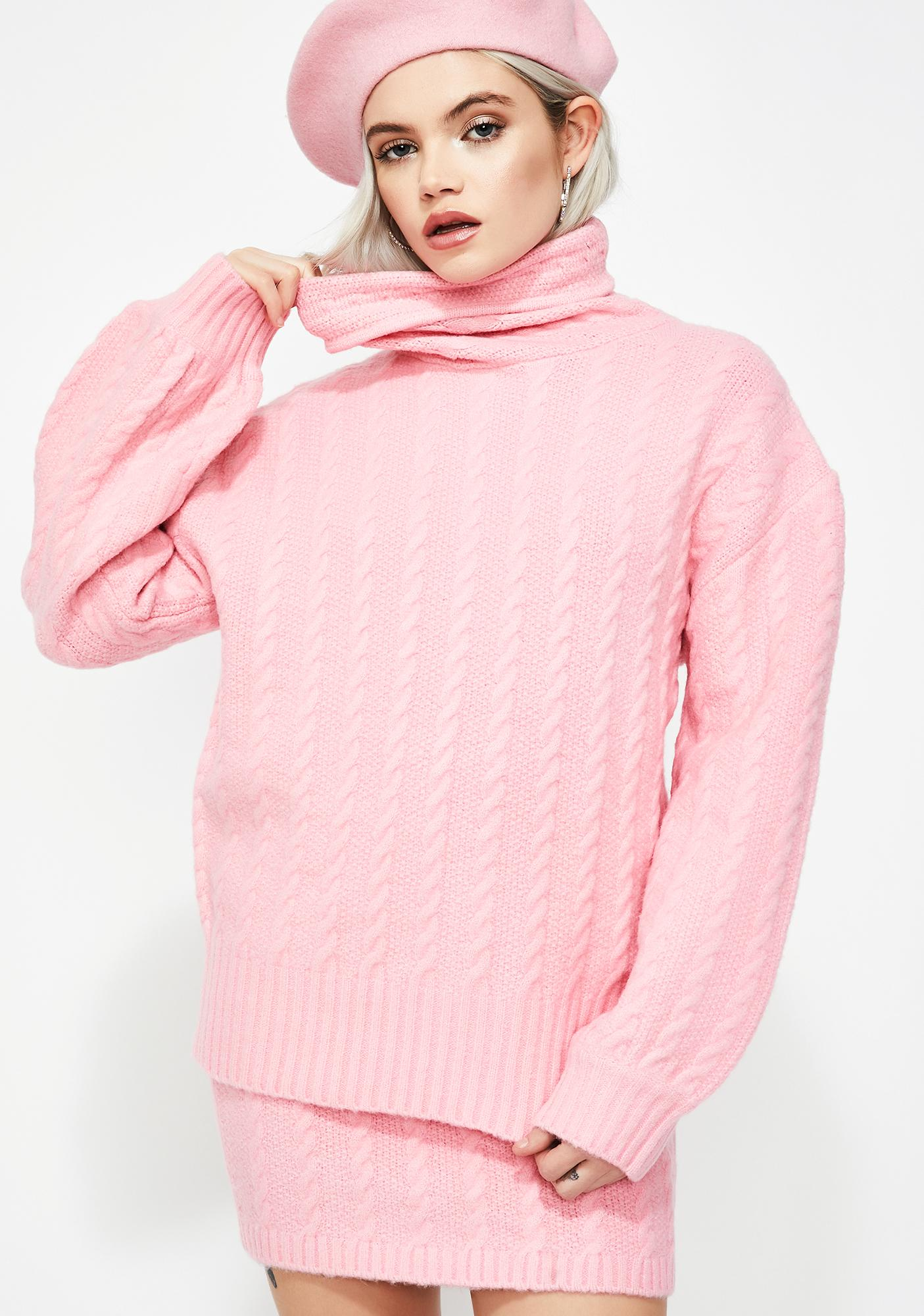789fe71fbd Oversize Cable Knit Turtleneck Sweater