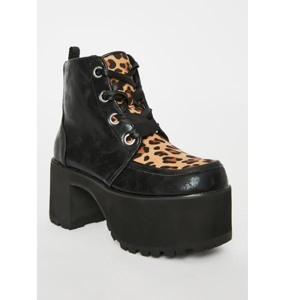 T.U.K. Leopard Nosebleed Platform Boots