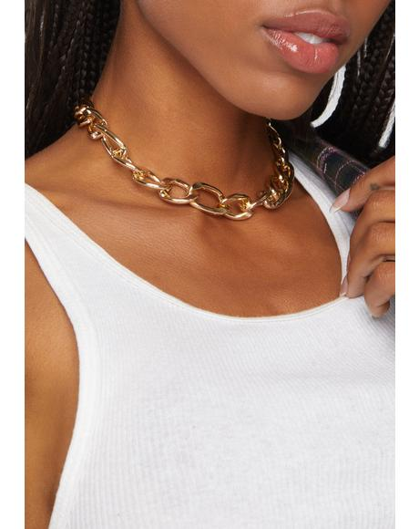 Gold Don't Come Knocking Chain Link Necklace
