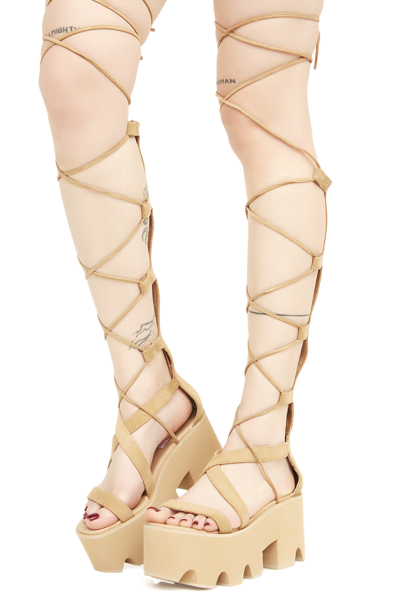 Tan Knee Lace-Up Platform Sandals