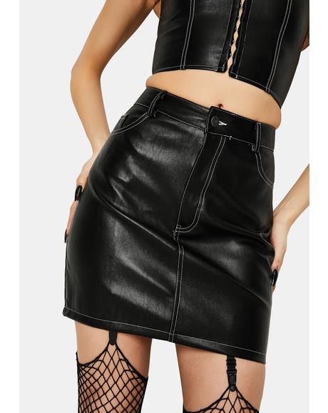 Black PU Mini Broomy Skirt