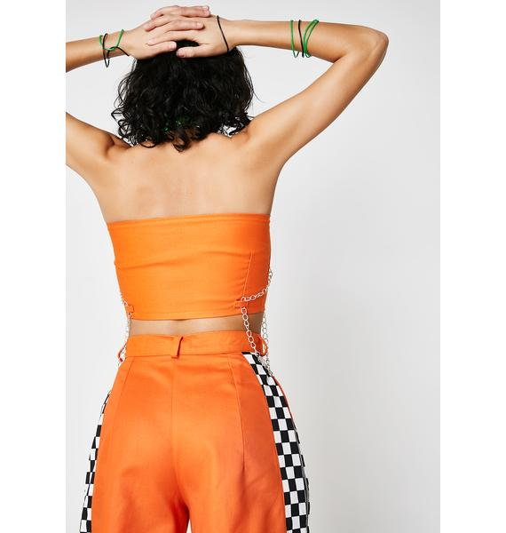LOVE TOO TRUE Orange Zip It Boob Tube
