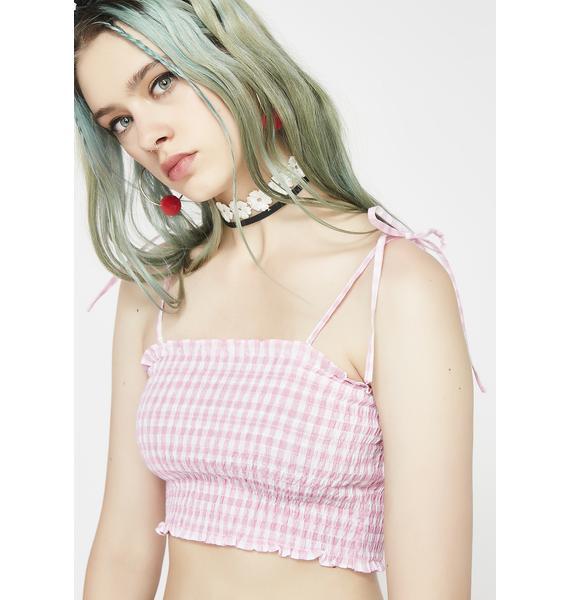 Rose Girl Nxt Door Smocked Crop Top