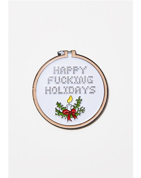 Holidays Cross Stitch Pin
